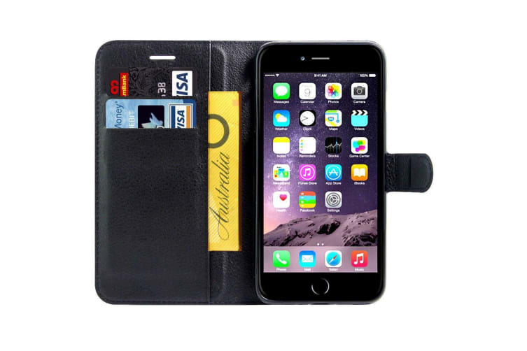 For iPhone 8 7 Wallet Case Stylish Lychee Durable Protective Leather Cover Black