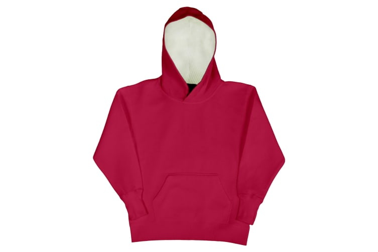 SG Kids Unisex Contrast Hooded Sweatshirt / Hoodie (Red/White) (5-6)