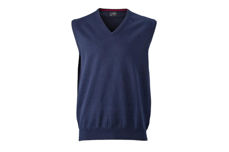 James and Nicholson Mens V-Neck Sweater Vest (Pack of 2) (Navy) (M)
