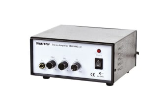 Low cost mains powered stereo bullet proof 18W channel transistor amplifier