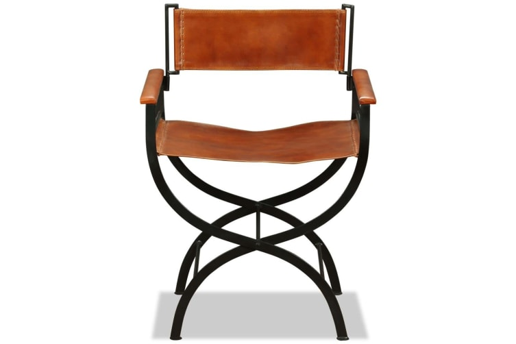 vidaXL Folding Chair Black and Brown Real Leather