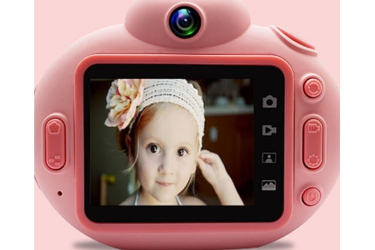 Select Mall 2 Inches IPS HD Screen Toy Camera Cartoon Portable SLR HD Children's Digital Camera for Children Birthday Gift-Pink