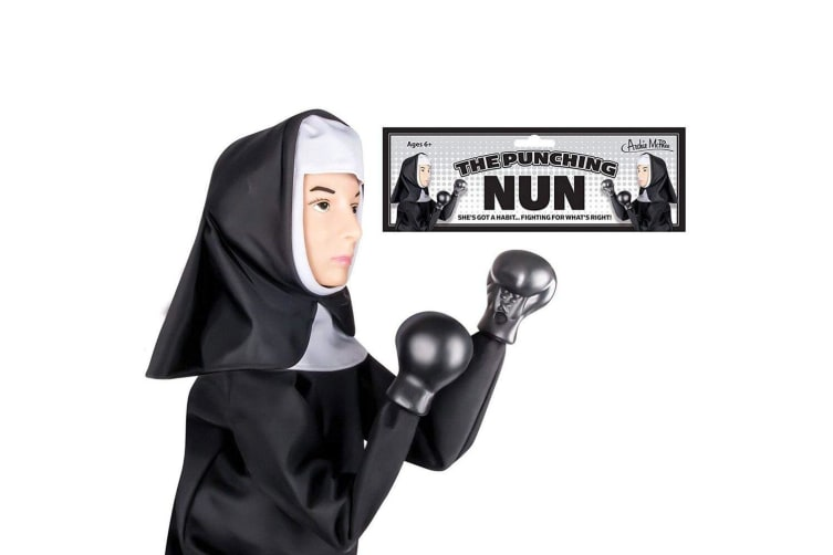 2x Archie McPhee Nun Boxing/Punching Hand Puppet Kids 6y+ Comedy Role Play Toy