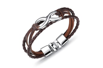 Infinity Leather Wrap-Leather/Brown