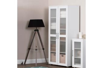 Double Door Storage Cabinet Organiser Tall Shelf Cupboard White Display