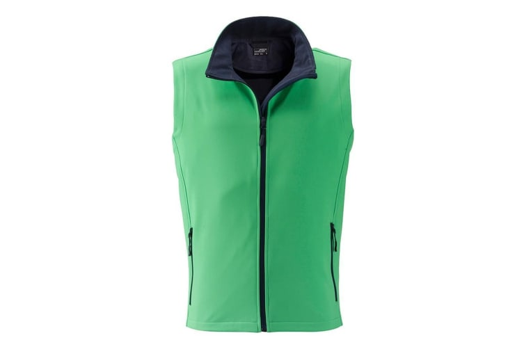 James and Nicholson Mens Promo Softshell Vest (Green/Navy) (XL)