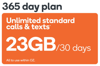 Kogan Mobile Prepaid Voucher Code: EXTRA LARGE (365 Days | 23GB Per 30 Days) - No SIM