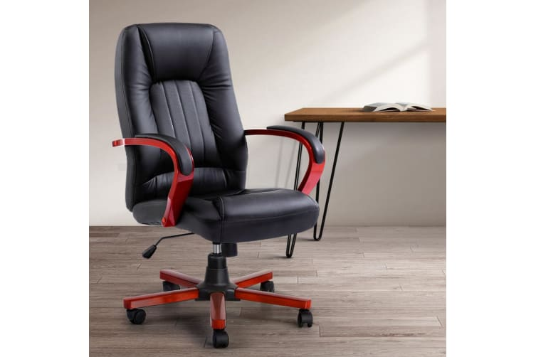 Artiss Executive Wooden Office Chair Wood Computer Chairs Leather Seat Semper