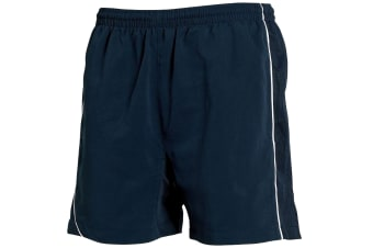 Tombo Teamsport Mens Lined Performance Sports Shorts (Navy/Navy/ White Piping)