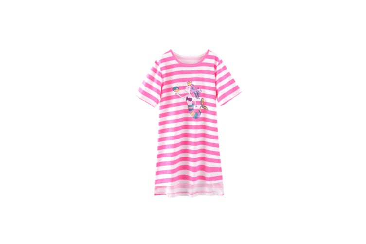 Nightgowns For Girls Cotton Pajamas Dresses Short Sleeve - 2 Pink 170