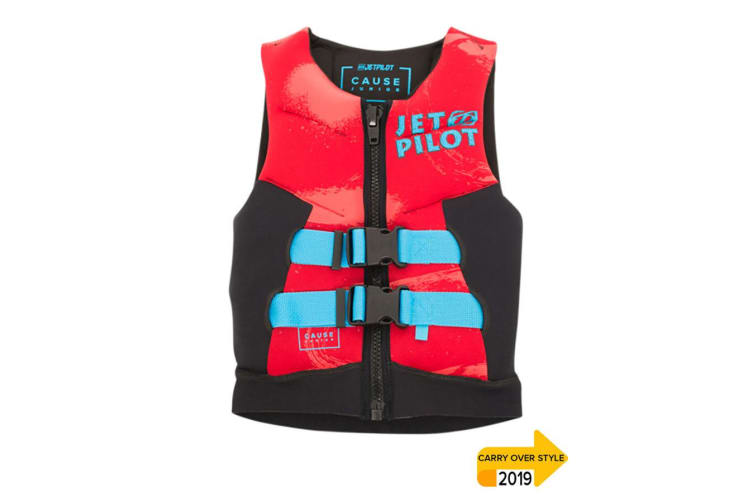 JetPilot The Cause Front Entry Kids Neo Vest Level 50 - Red- 12 - 14