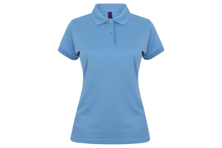 Henbury Womens/Ladies Coolplus® Fitted Polo Shirt (Mid Blue) (XS)