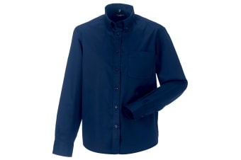Russell Collection Mens Long Sleeve Classic Twill Shirt (French Navy) (S)