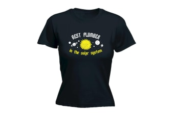 123T Funny Tee - Best Plumber In The Solar System - (XX-Large Black Womens T Shirt)