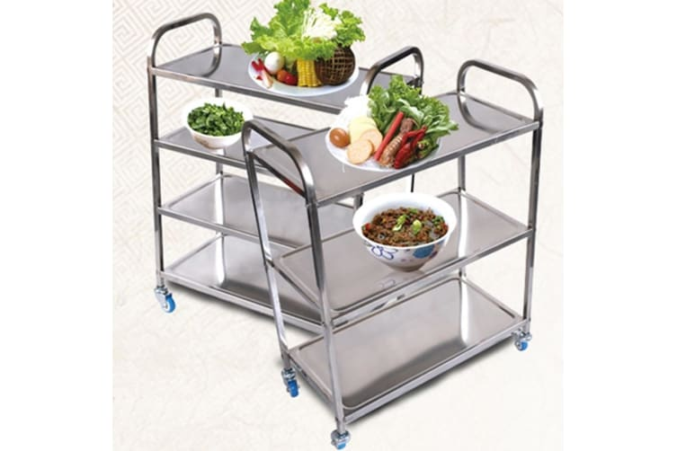 SOGA 4 Tier Stainless Steel Kitchen Dinning Food Cart Trolley Utility Size Square 47x32x79cm Small
