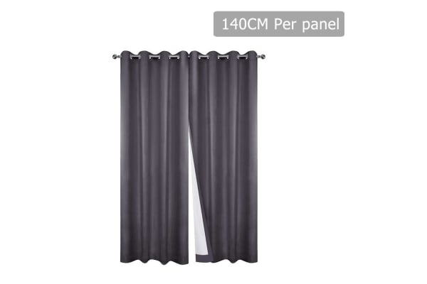 Set of 2 140CM Blockout Eyelet Curtain (Grey)