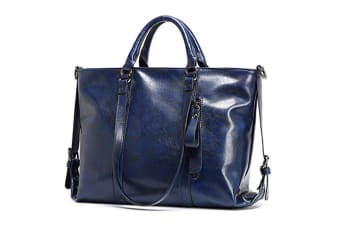 Fashion Pu Leather Top Handle Bags Waterproof Handbags Shoulder Bags Blue