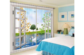 3D Swan Meadow 113 Curtains Drapes