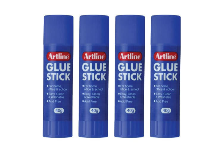 4PK Artline 40g Glue Stick Adhesive School/Office Washable Acid Free Paste Clear