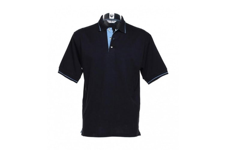 Kustom Kit Mens St. Mellion Mens Short Sleeve Polo Shirt (Navy/Light Blue) (XL)