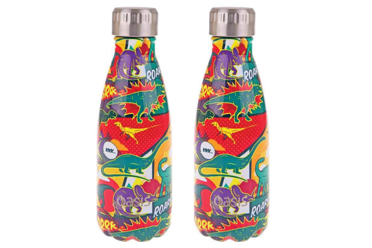 2PK Oasis 350ml Stainless Steel Double Wall Insulated Drink Bottle Cup Dinosaurs