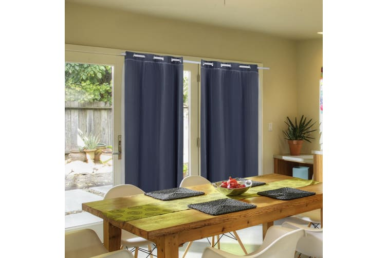 2X Blockout Curtains Panels Blackout 3 Layers Room Darkening Pure With Gauze NEW  -  Black180x230cm (WxH)