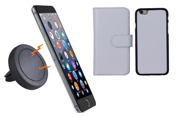 TODO Magnetic Quick Snap Car Air Vent Mount Leather Card Case Iphone 6 - White