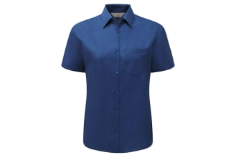 Russell Collection Ladies/Womens Short Sleeve Poly-Cotton Easy Care Poplin Shirt (Bright Royal)