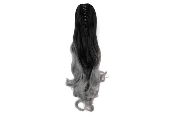 "2Pcs Two Tone Ombre High Grade Silver Gray Curly Clip On Pony Tail 24"" Hair Clamp09 2X"