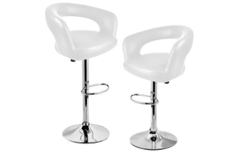 2x PU Leather Swivel Bar stool Gas Lift Adjustable White