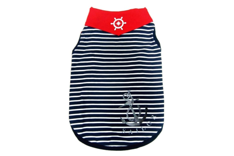 Pet Brands Happy Puppy Sailor Dog Tank Top (Blue Stripe) (Medium)