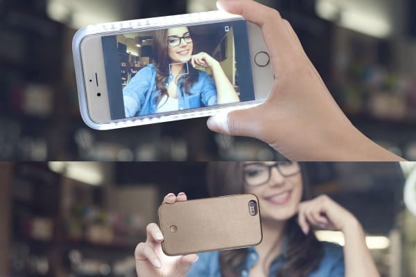Selfie Case for iPhone 6/6s Plus with Power Bank (Gold)