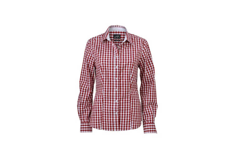 James and Nicholson Womens/Ladies Checked Shirt (Bordeaux Red/White) (M)