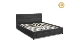 Double Fabric Bed Frame with Storage Drawers (Grey)