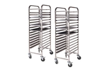SOGA 2X Gastronorm Trolley 15 Tier Stainless Steel Cake Bakery Trolley Suits 60*40cm Tray
