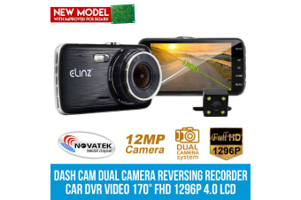 "Elinz 4.0"" LCD Car Dash Cam Dual Camera Reversing 1296P FHD DVR Video Recorder 170°"