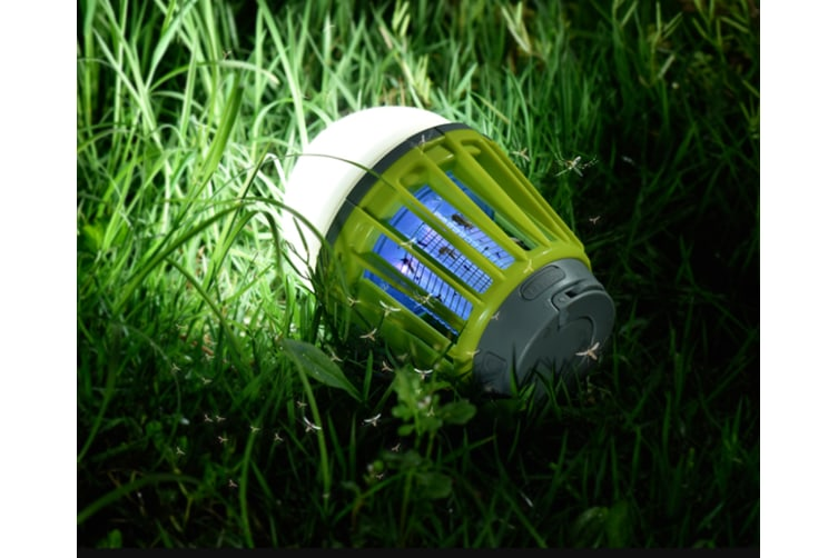 2-in-1 Camping Lantern Bug Zapper Tent Light - Portable IPX6 Waterproof Mosquito Killer LED Lantern , Retractable Hook, Removable Lampshade(GREEN)
