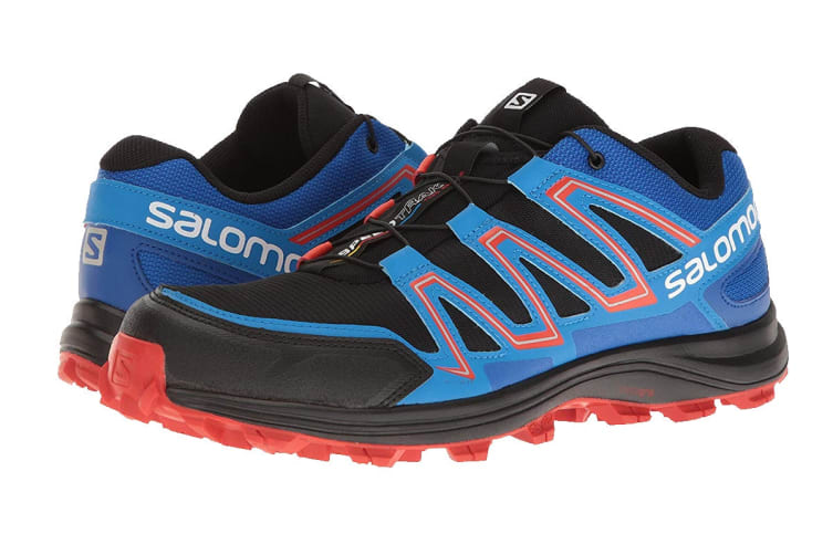 Salomon Men's Shoes Speedtrak (Black/Blue Yonder/Lava Orange, Size 8.5)