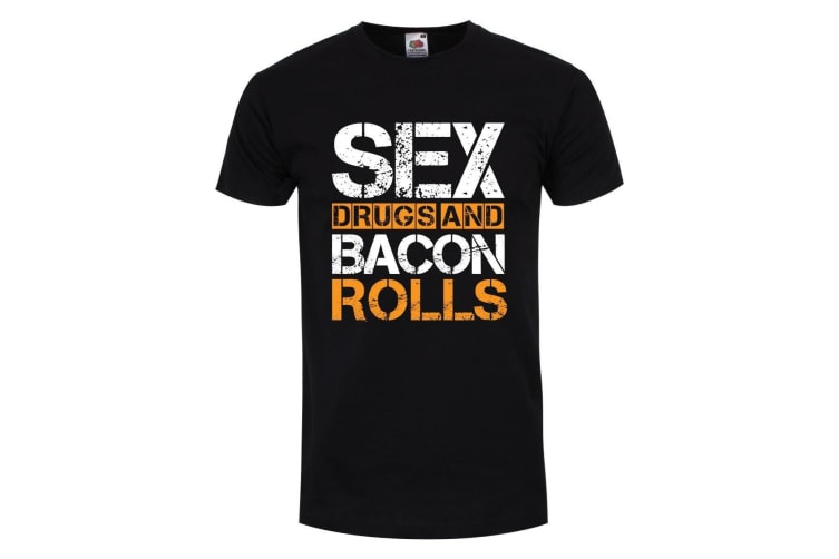 Grindstore Mens Sex Drugs and Bacon Rolls T Shirt (Black) (L)
