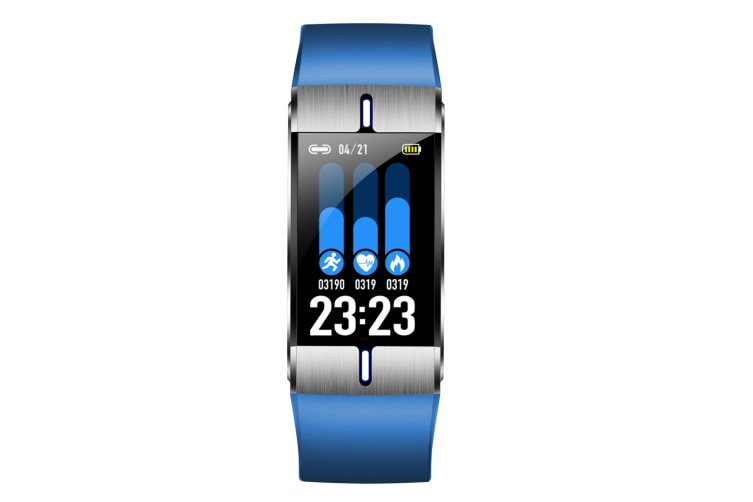 Select Mall 1.08 Inch High-definition Color Screen Intelligent Sports Detectable Body Fat and Other Waterproof Bracelet-Blue