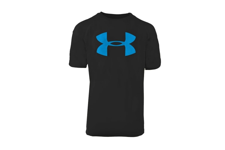 Under Armour Boys' UA Tech Big Logo S/S T-Shirt (Black/Teal, Size L)