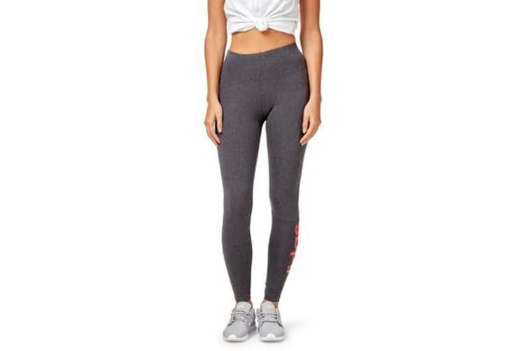 Adidas Women's Essential Linear Tight with Logo (Dark grey heather/real coral, Size M)