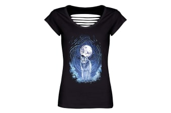 Requiem Collective Ladies/Womens Benithe Wolf Razor Back T-Shirt (Black)