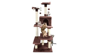PaWz 1.7M Cat Scratching Post Tree Gym House Condo Furniture Scratcher  -  Brown