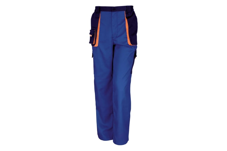 Result Unisex Work-Guard Lite Workwear Trousers (Breathable And Windproof) (Royal / Navy / Orange) (XS)