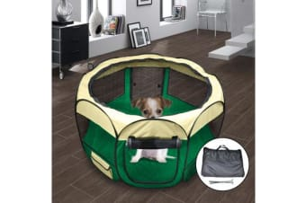 Pet Soft Play Large Round Crate Cage - Green