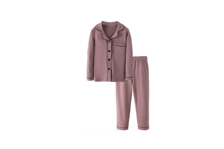 2Pcs Unisex Pajamas Suit Children Pajamas Long-Sleeved Pajamas Clothes - Grey Purple Purple 110Cm