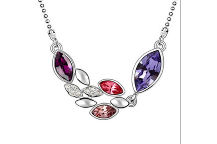Luxury Crystal Flowers Shape  Pendant Necklace Purple