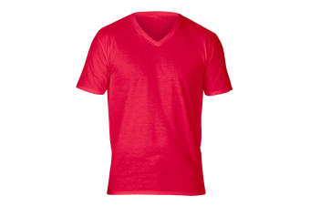 Gildan Adults Unisex Short Sleeve Premium Cotton V-Neck T-Shirt (Red) (M)