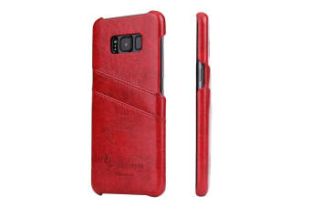 For Samsung S8 Plus Red Deluxe Leather Flip Wallet Phone Case Shockproof Case